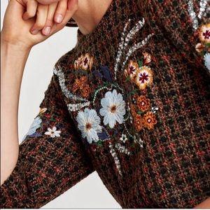 NWOT Zara Tweed Embroidered shift dress M